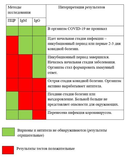Интерпретация анализов на коронавирус